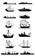 ship silhouette - stock illustration