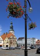 Main market square with town hall in picturesque otmuchow of poland Stock Photos