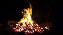 Fire flames, bonfire night, camp fire, party, outdoor fire, beautiful sparks - stock footage