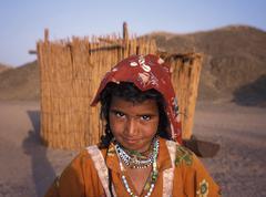 girl on egyptian desert - stock photo