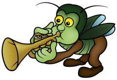 Beetle and Trumpet - stock illustration