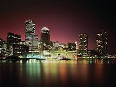 Usa, ma, boston skyline at night with moon Stock Photos