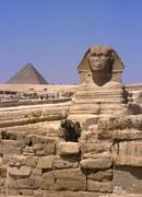 front side view on sphinx with tourists, egypt - stock photo