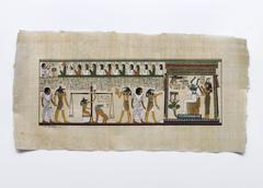 Detail of voyage of the deceased to abydos, hieroglyphic writing on papyrus, Stock Photos