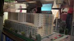 Block of flats - model - Romania Stock Footage