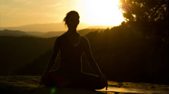 woman yoga meditation peace pose sunset exercise spiritual - stock footage