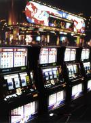 usa, na, las vegas, casino, slot machines - stock photo