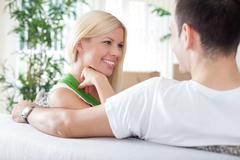 woman with boyfriend in new flat - stock photo