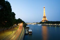 Eiffel tower with highway and river Stock Photos