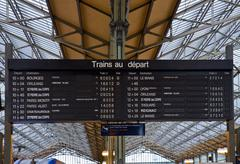 board schedules of trains - stock photo