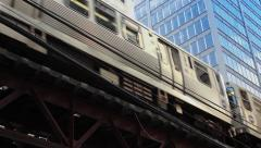 Subway Passes Overhead Close Up - stock footage