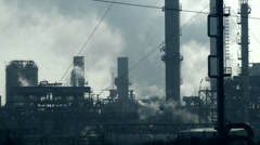 Stock Video Footage of 0078 Chemical plant, smokes, pollution