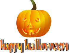 Happy pumpkin looks hunger Stock Illustration