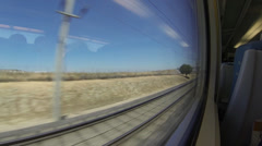 View out of the window of a spanish high speed train going top speed - stock footage