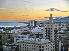 Málaga during sunset - illustration Stock Photos