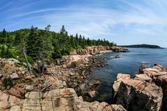 Acadian rocky coast in maine Stock Photos
