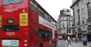 Ultra HD 4K People Traffic Piccadilly Circus London Famous Double Decker Bus Stock Footage