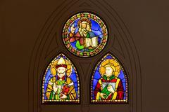 window of stained glass by baldovinetti and pacino di bonaguida - stock photo