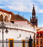 Bull fight ring stadium cityscape giralda spire bell tower, seville cathedral Stock Photos