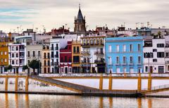 saint peter church cityscape river guadalquivr morning seville andalusia spai - stock photo