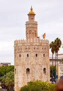 torre del oro old moorish watchtower seville andalusia spain - stock photo