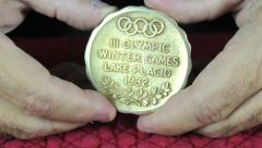 Olympic Gold Medal-Both Sides Stock Footage