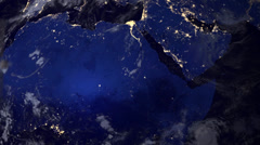 Telecommunication satellite over africa part of earth, night view from space. Stock Footage