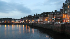 Oban waterfront at dusk Scotland on September 30th, 2013 Stock Footage
