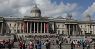 Ultra HD 4K National Gallery Stairs London, Meeting Place Gathering, Crowd UK Stock Footage