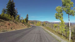 Beautiful high mountain road autumn drive POV HD 0105 Stock Footage