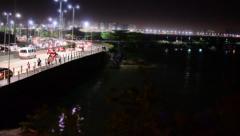 TIME LAPSE PESSOAS CAR CARROS PONTE RIO MAR LUZES FAROIS LIGHT DSC 2684 Stock Footage