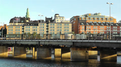 Stockholm view from Gamla Stan 9 train Stock Footage