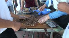 Preparing plov, calculator, meat dish, Uzbekistan, Central Asia Stock Footage