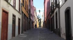 Old narrow street in Las Palmas de Gran Canaria Stock Footage