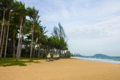 beautiful beach at gulf of thailand - stock photo