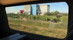 Train journey window view - Sete to Montpellier, France 1 Stock Footage