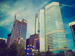retro look european central bank in frankfurt - stock photo