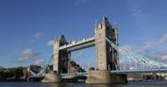 Ultra HD 4K Day Tower Bridge London Skyline England Double Decker Bus Commuters Stock Footage