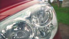 Car headlights - stock footage
