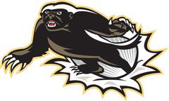 honey badger mascot jumping - stock illustration