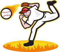 Baseball pitcher throwing ball on fire Stock Illustration