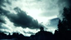 Dark clouds above the city Stock Footage