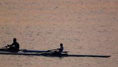 Canoeing at Sunset Stock Footage