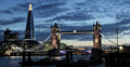 Ultra HD 4K Illuminated Famous Tower Bridge, London Skyline, Shard Skyscraper Footage