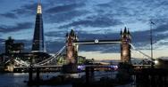 Ultra HD 4K Illuminated Famous Tower Bridge, London Skyline, Shard Skyscraper Stock Footage