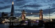 Ultra HD 4K Illuminated Famous Tower Bridge, London Skyline, Shard Thames River Stock Footage