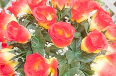 Vintage fake roses, floral background. Stock Photos