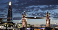 Ultra HD 4K Illuminated Night Lights Tower Bridge London Skyline Shard High Rise Stock Footage