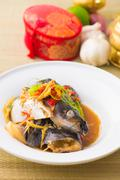 Steamed fish chinese malaysian style Stock Photos