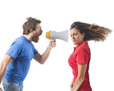 bickering couple - stock photo